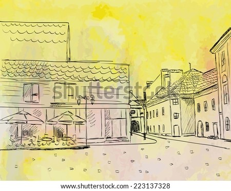 City sketch. Watercolor town Fall. vector illustration - stock vector