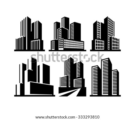 City skyline and Buildings vector black icons isolated on white  - stock vector