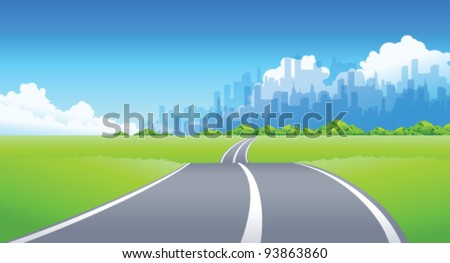 City Skyline and Road passing through a landscape