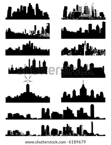 City Skyline and Silhouettes - stock vector