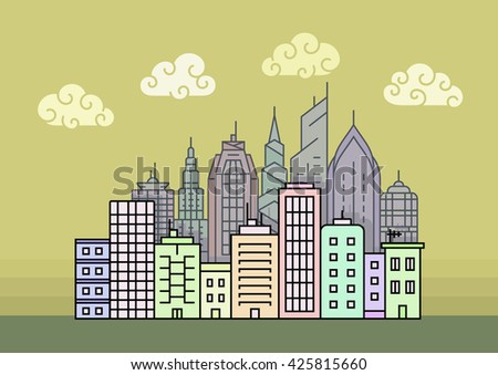 City skyline at evening. Town buildings vector illustration - stock vector