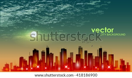 City skyline at sunset - stock vector