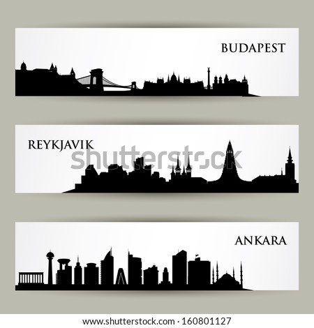 City skyline banners - vector illustration