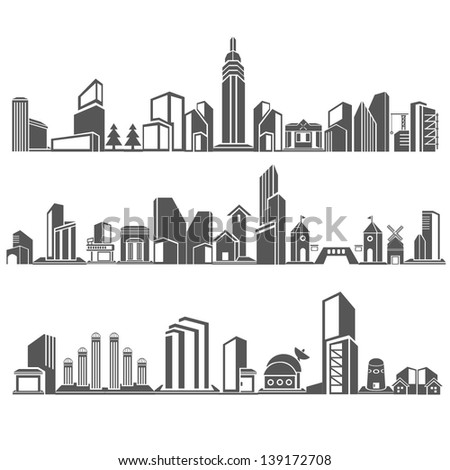 city skyline,  building in downtown skyline sets, cities silhouette icon set - stock vector