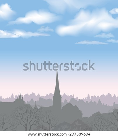 City skyline. Buildings silhouette cityscape. Old city street in arly morning. European downtown. Urban landscape with trees. - stock vector