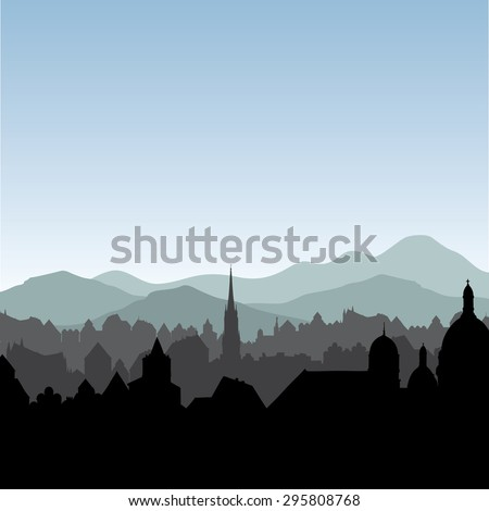 City skyline. Buildings silhouette cityscape. Old city street in arly morning. European landscape. - stock vector