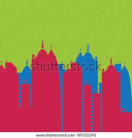 city skyline buildings vector set 3