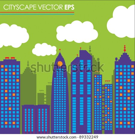 city skyline buildings vector set 1