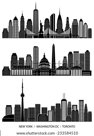 City skyline detailed silhouette set (New York, Washington DC, Toronto). Vector illustration - stock vector