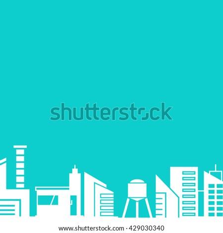 city skyline in blue background - stock vector