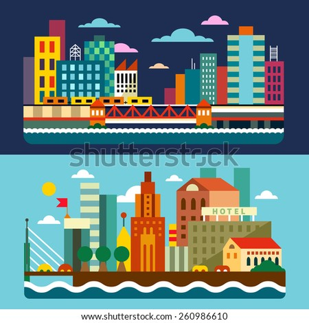City skyline. Megalopolis. Day and night landscapes: skyscrapers, houses, buildings, cars, river, sea, waterfront street, bridge. Vector flat  illustrations  - stock vector