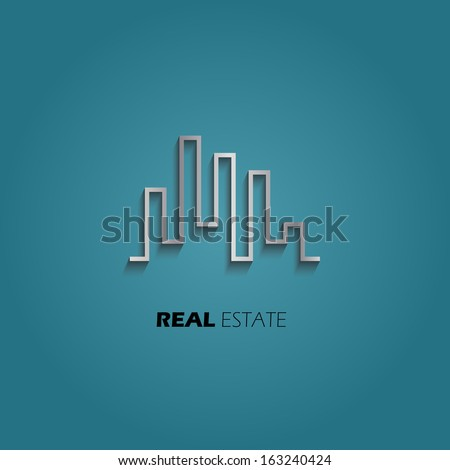 City Skyline Real Estate icon. Vector design - stock vector