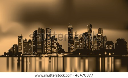 city skyline reflecting over calm water, sepia toned - stock vector