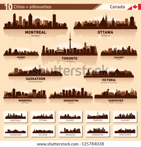 City skyline set. Canada. Vector silhouette illustration. - stock vector