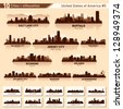 City skyline set. 10  city silhouettes of USA #5 - stock photo