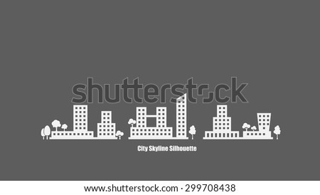 City Skyline Silhouette Background Vector - stock vector