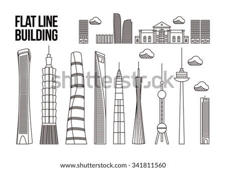City Skyline - Skyscraper - Vector Illustration - Shanghai - Taiwan - stock vector