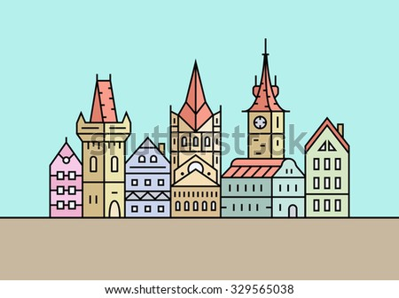City skyline. Town buildings vector illustration - stock vector