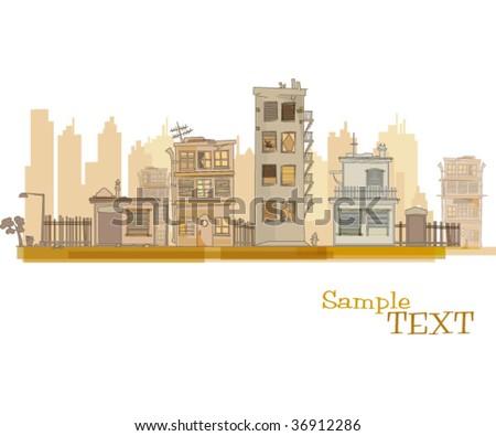 city skyline, urban scene, vector art - stock vector