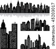 City skyline vector background - stock vector