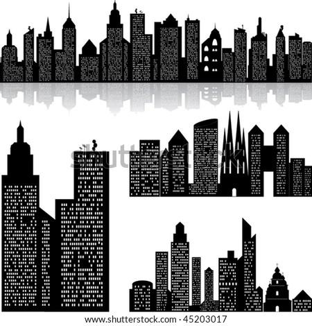 City skyline vector background - stock vector