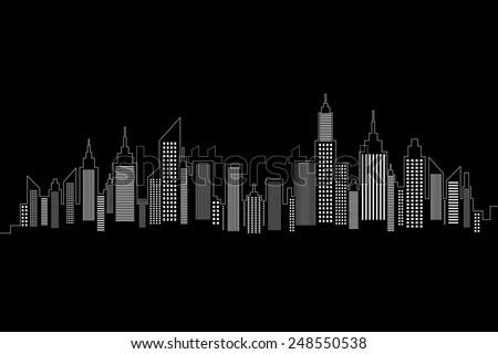 City Skyline White Silhouette On Black Background - stock vector
