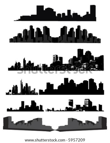 City Skylines and Silhouettes - stock vector