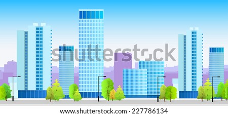 city skylines blue illustration architecture modern building cityscape vector - stock vector