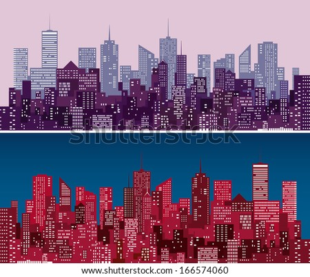 city skylines in  purple and red versions - stock vector