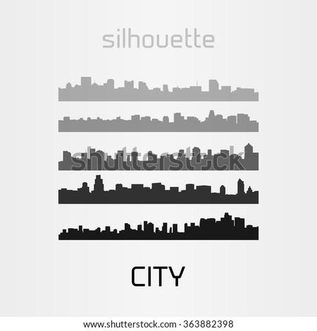 City Skylines Silhouette Set, Urban Skyline - stock vector