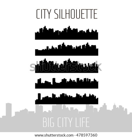City Skylines Silhouette Set, Urban Skyline