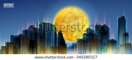 City Skylines with full moon. Blue night background. Panorama width. Lights.  Urban silhouette.