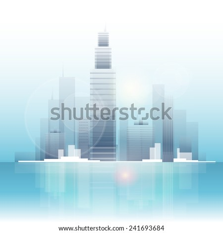 City skyscraper view cityscape background skyline with spotlights reflecting vector illustration - stock vector