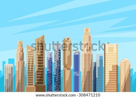 City Skyscraper View Cityscape Skyline Vector Illustration - stock vector