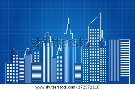 City Skyscrapers Skyline Blueprint Vector - stock vector