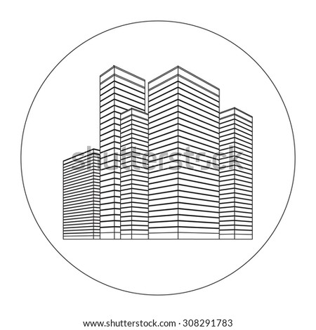 City Skyscrapers. Vector city illustration