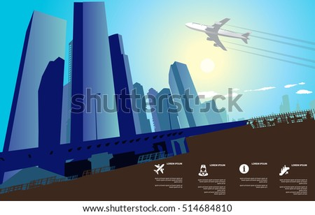 city skyscrapers with blue sky and plane