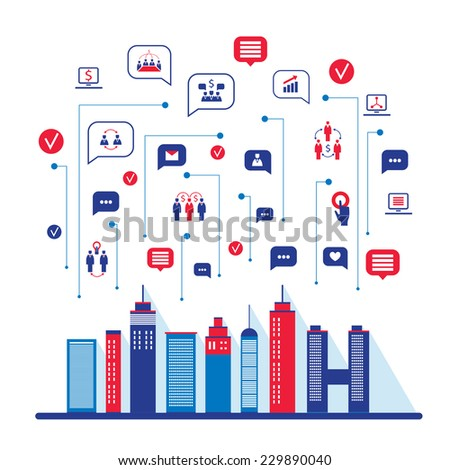 City social network. Urban landscape filled with business icons, communication concept. City infographic elements. Vector illustration - stock vector