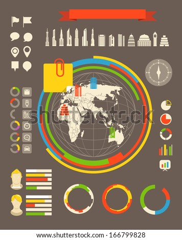 City statistic information of different countries. Infographic elements all selectable - stock vector