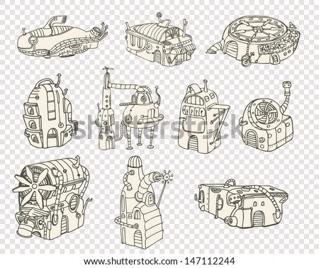City steampunk 2013 set2 - stock vector