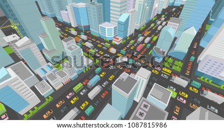 City street Intersection traffic jams road 3d. Very high detail Isometric projection view. A lot cars end buildings top view Vector illustration
