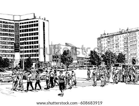Line Art City : City street scene buildings cars pedestrians stock vector