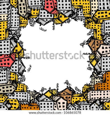 City street sketch, background for your design - stock vector