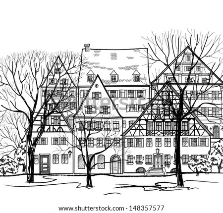 City street with ancient cosy buildings Autumn cityscape. Old european town street houses. Sketch vector illustration.