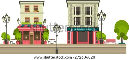 City street with tall buildings panoramic views and shops on the first floor on a white background - stock vector