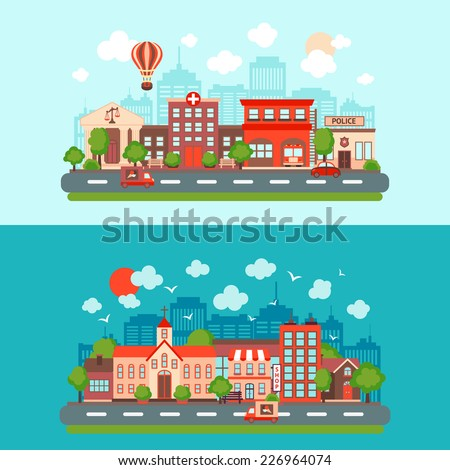 City summer street urban town scape abstract set light and dark background isolated vector illustration - stock vector