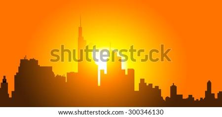 City Sunset - stock vector