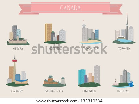 City symbol. Canada. Vector set f - stock vector
