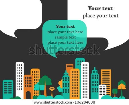 City talks, buildings and speech bubbles. Vector - stock vector