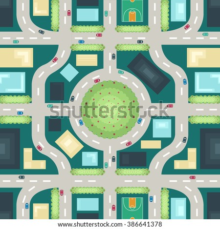 city top view seamless pattern